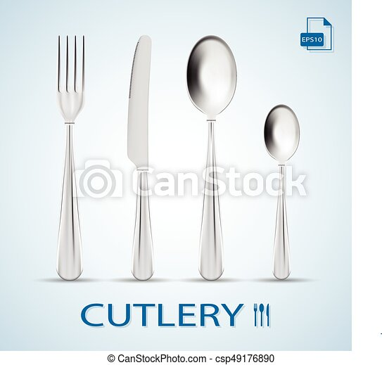 Cutlery Set Of Fork, Spoon, Knife And Dessert Spoon Isolated On A Background. Vector Illustration. - csp49176890