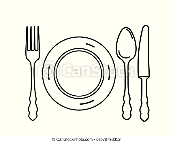 Cutlery set. Plate, fork, knife, spoon icon design elements. Line art eating symbol set. - csp70793352
