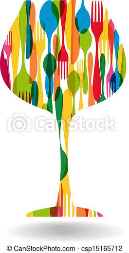 Cutlery wine glass shape illustration - csp15165712