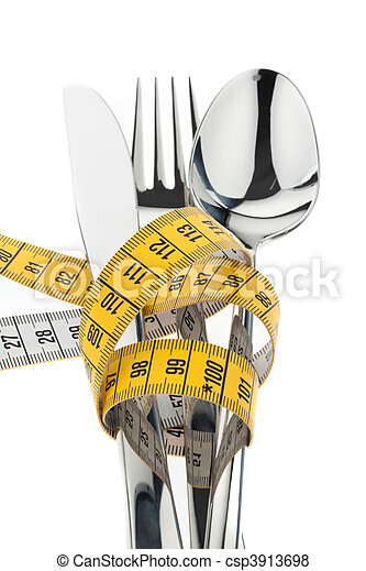 Cutlery with Ma????band. Symbol weight loss - csp3913698