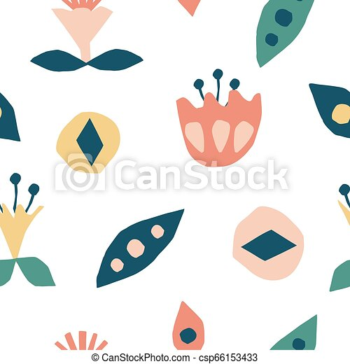 Cutout Flowers And Floral Element Seamless Pattern