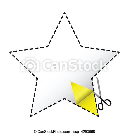 Cutout Star A Dashed In The Shape Of