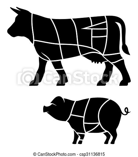 Cuts of beef and Pork meat cuts - csp31136815