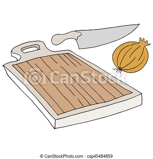 cutting board knife onion - csp45484859