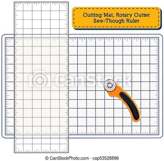 Cutting Mat, Rotary Blade Cutter, See Through Ruler - csp53528896