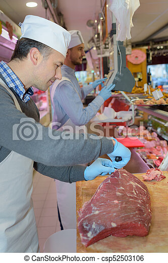 cutting the meat - csp52503106