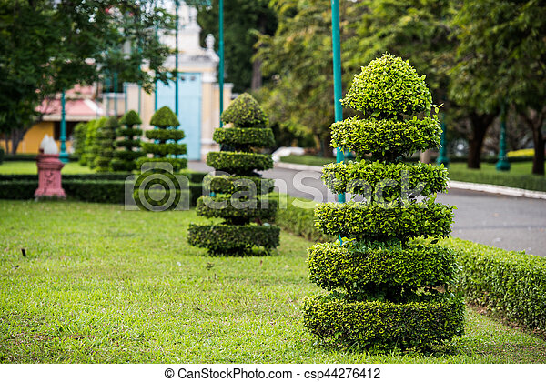 Cutting Tree Garden Decoration At Asian Temple
