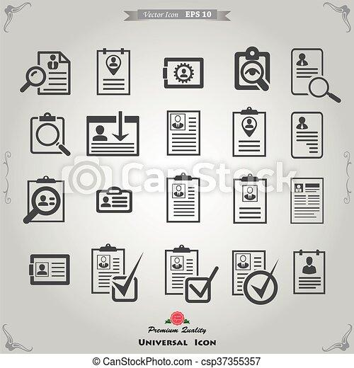 Cv Curriculum Vitae Profile Resume Vector Buttons Set Cv