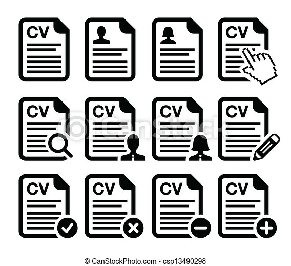 cv curriculum vitae resume icons csp13490298 - Free Resume Icons