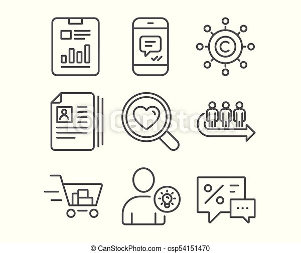 Set of cv documents queue and user idea icons shopping cart set of cv documents queue and user idea icons shopping cart copywriting network and report document signs search love message and discounts symbols ccuart Images
