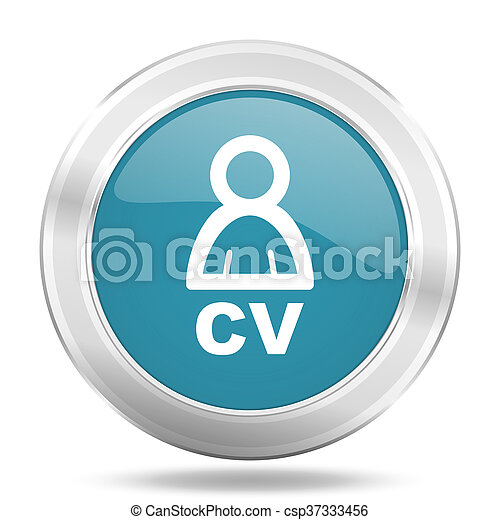 cv icon, blue round glossy metallic button, web and mobile app design illustration - csp37333456