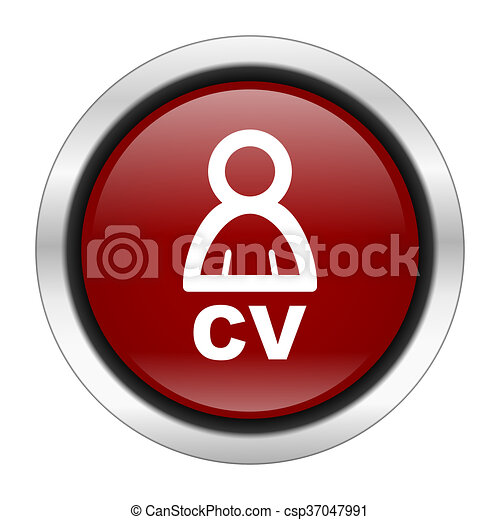 cv icon, red round button isolated on white background, web design illustration - csp37047991