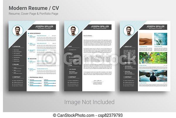 Cv Resume Cover Letter And Portfolio Page Template Illustrator Vector Cv Resume Cover Letter And Portfolio Page Canstock