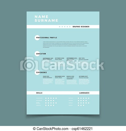 Cv Resume Employment Application Form With Job Description Vector Template