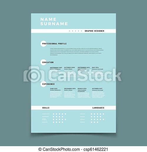 Cv Resume Employment Application Form With Job Description Vector