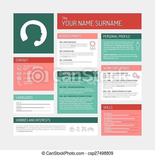 Vector minimalist cv / resume template dashboard profile - teal and ...