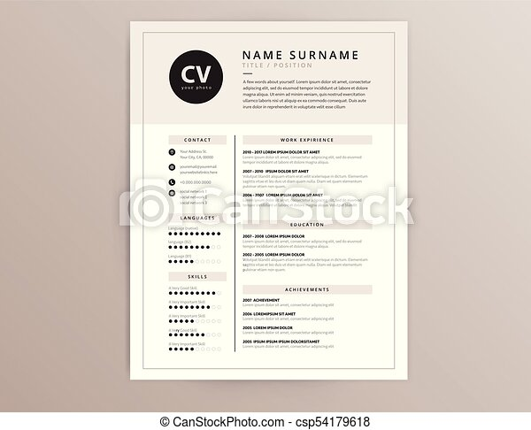 Cv Resume Template Elegant Stylish Vector Design Cv Resume