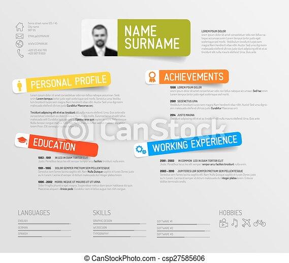 cv resume template vector minimalist cv resume template design - Cv Design Templates Vector