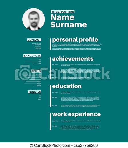 cv resume template with nice typography vector minimalist