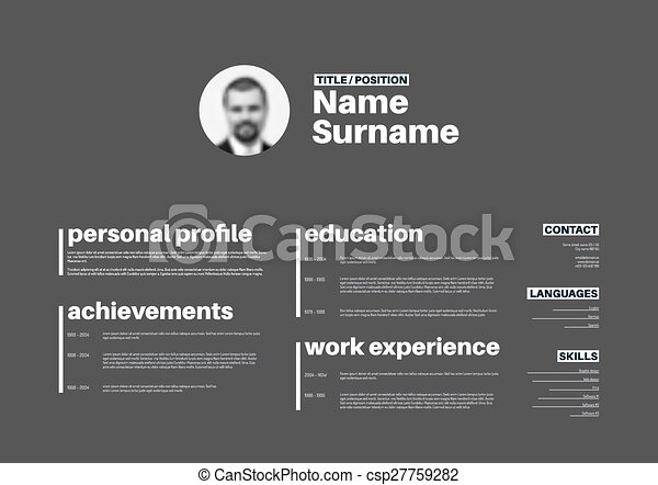 Cv / resume template with nice typography. Vector minimalist cv ...