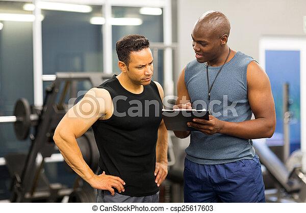 cvičitel, forma, osobní, porce, členstvo, afričan voják, nadmout - csp25617603