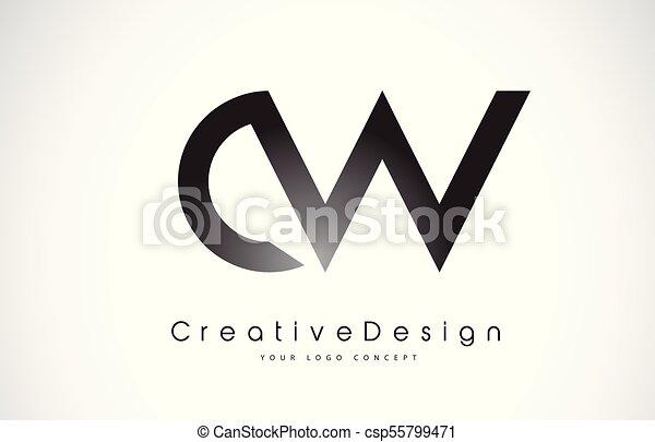 cw c w letter logo design creative icon modern letters vector logo