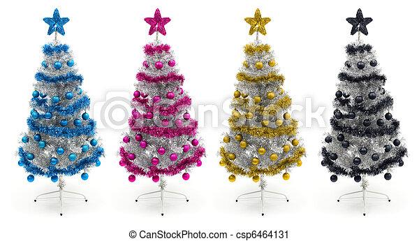 Cyan, magenta, yellow and black christmas trees - csp6464131