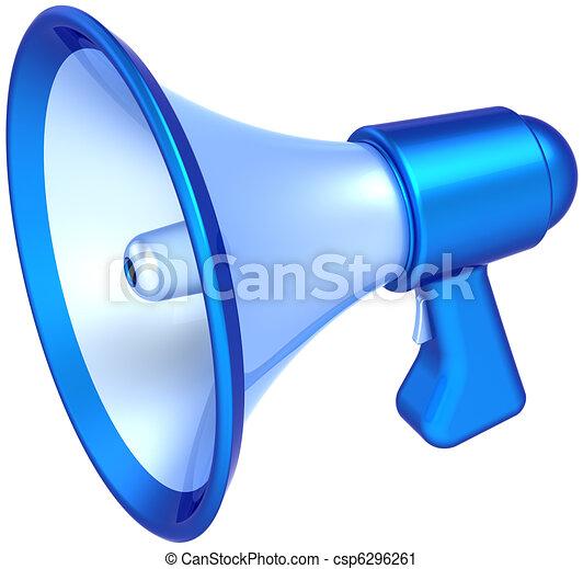cyan, porte voix, apprentissage, icône - csp6296261