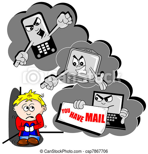 cyber bullying cartoon with scared child mobile phone and pc rh canstockphoto com cyber bullying clipart images cyberbullying clipart