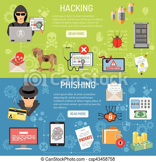 Cyber Crime hacking and phishing Banners - csp43458758