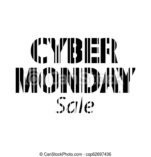 Cyber monday inscription. Bar code style - csp62697436