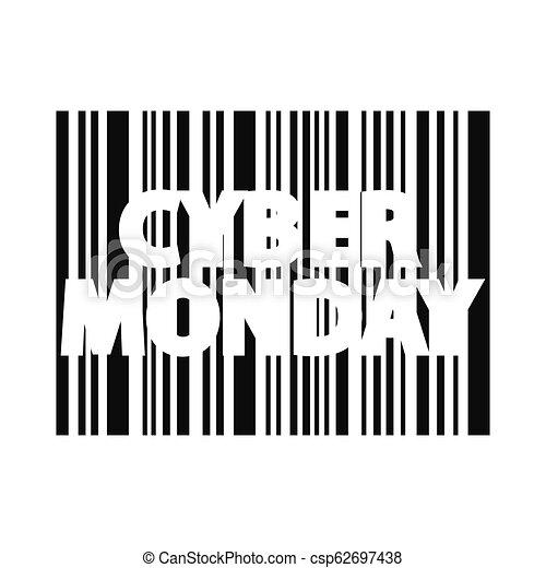 Cyber monday inscription. Bar code style - csp62697438