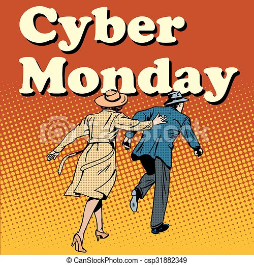 Cyber Monday shoppers run on sale - csp31882349