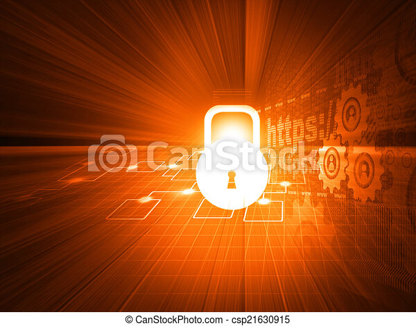 Cyber security concept, circuit board with Closed Padlock	 - csp21630915