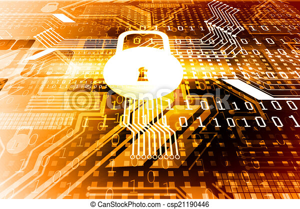 Cyber security concept, circuit board with Closed Padlock	 - csp21190446