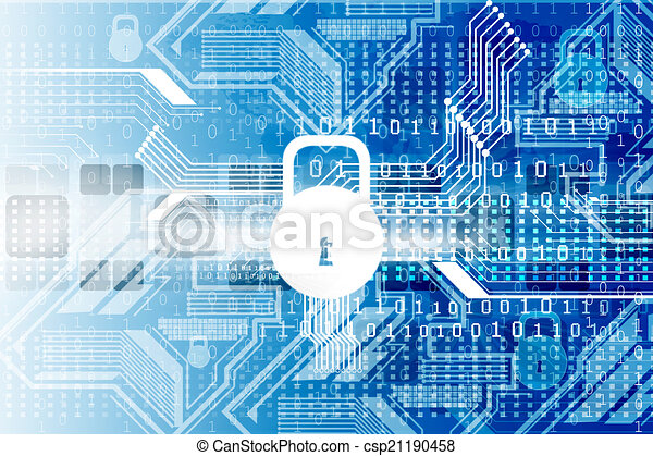 Cyber security concept, circuit board with Closed Padlock	 - csp21190458