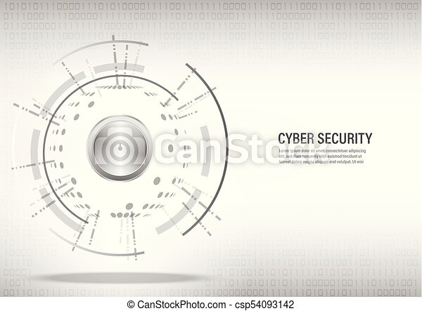 Cyber Security Concept on digital white background. - csp54093142