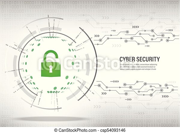 Cyber Security Concept on digital white background. - csp54093146