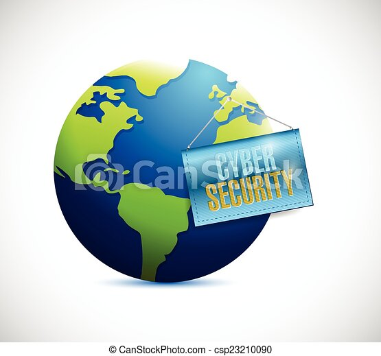 cyber security globe and banner - csp23210090