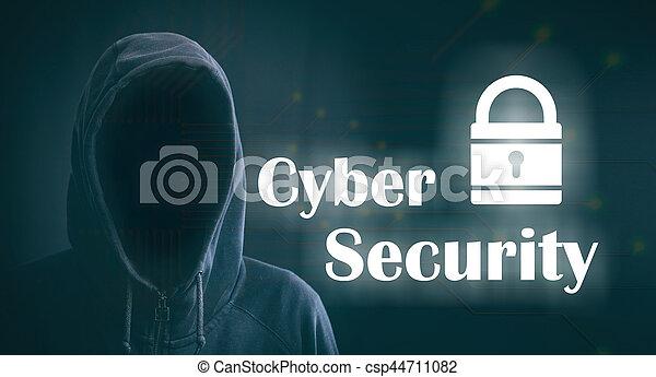 Cyber security on black background. 3d illustration - csp44711082