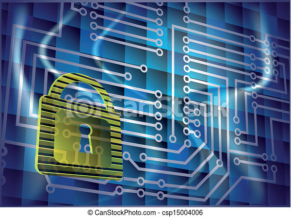 Cyber security. abstract background with lock and scheme.