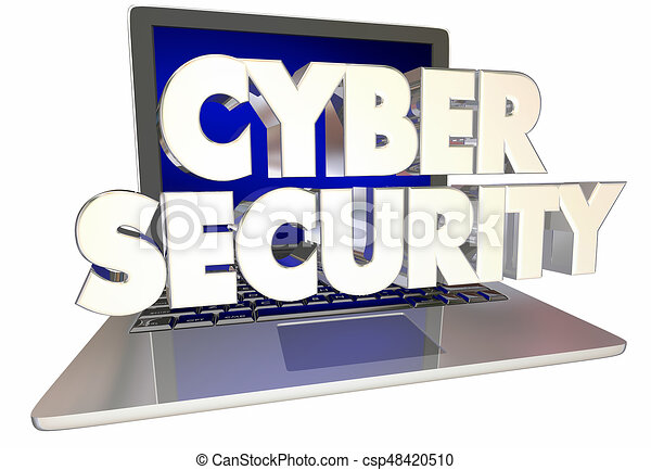 Cyber security words laptop computer internet safety 3d ...