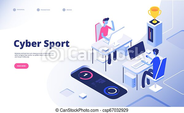 Cyber Sport Gamer Tournament Stream Esports Online Video Game With Computer Console 3d Games Vector Concept Illustration Of