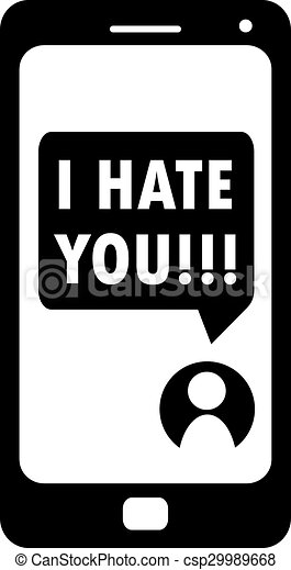 cyberbullying i hate you message on smartphone display clip art rh canstockphoto com Bullying Drawings Bullying Drawings