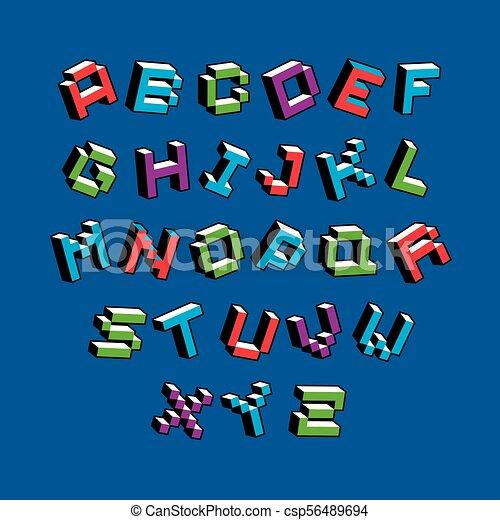 Cybernetic 3d Alphabet Letters, Pixel Art Vector Digital Typescript. Pixel Design Elements,