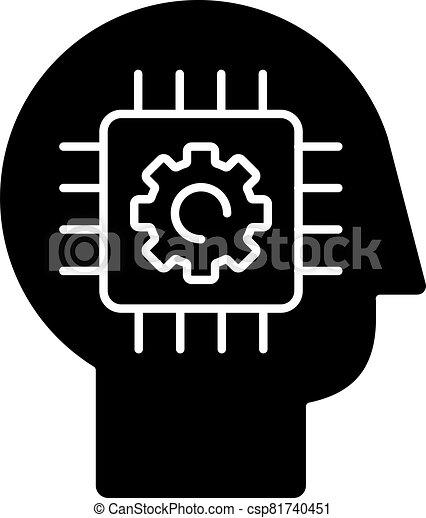 Cybernetics black glyph icon - csp81740451