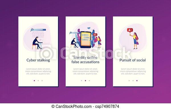 cyberstalking, app, interface, template. - csp74907874