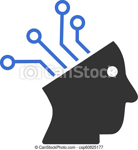 Cyborg Brain Circuit Vector Icon - csp60825177