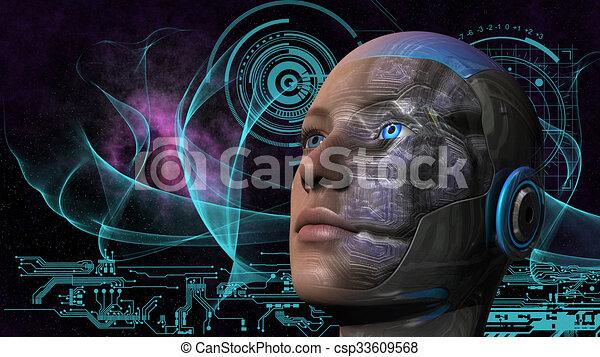 cyborg, frau, -, humanoid - csp33609568