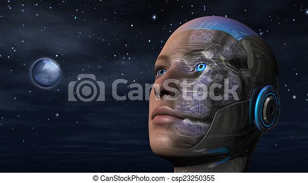 Cyborg-Frau - Humanoid - csp23250355